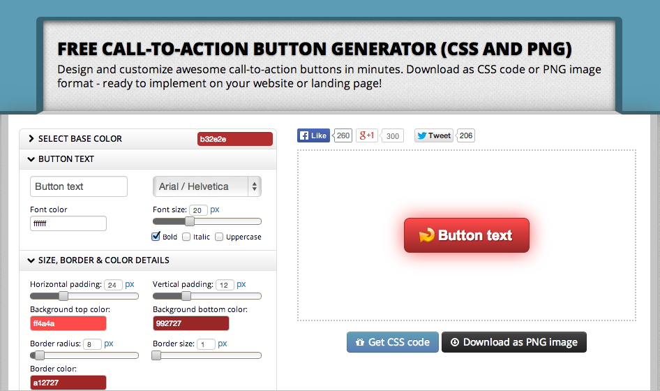 Call-to-Action Button Generator - Design buttons   download as CSS PNG